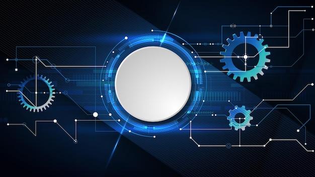 Vector de diseño 3d de círculo de papel con circuito eléctrico. red digital de alta tecnología, comunicaciones, alta tecnología. eps 10.