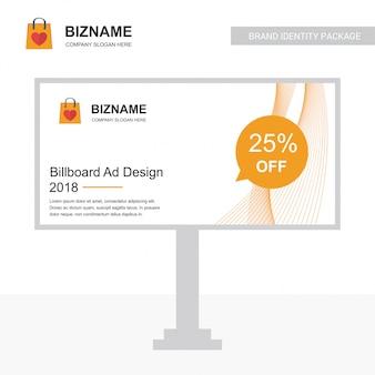 Vector de diseño de anuncios de billboard de empresa con el logo de bolsa de compras