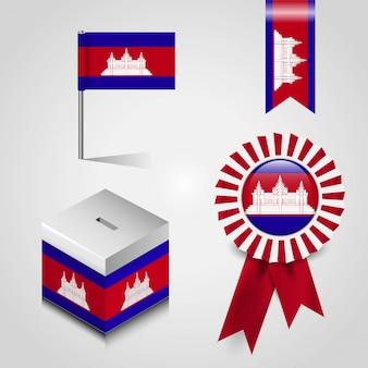 Vector de diseño de bandera de camboya