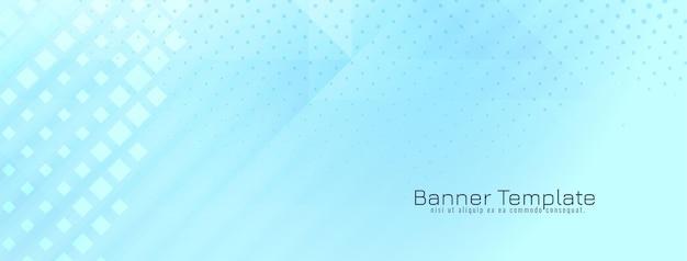 Vector de diseño de banner azul suave geométrico brillante