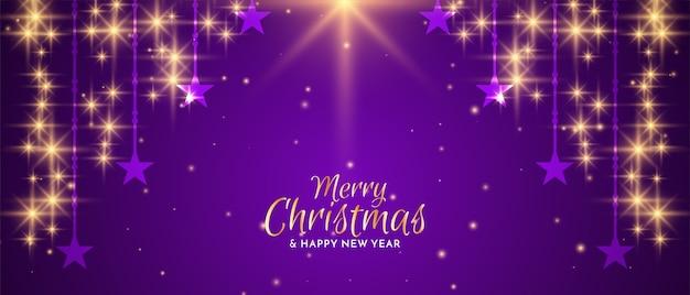 Vector de diseño de banner de feliz navidad festival estrellas fugaces