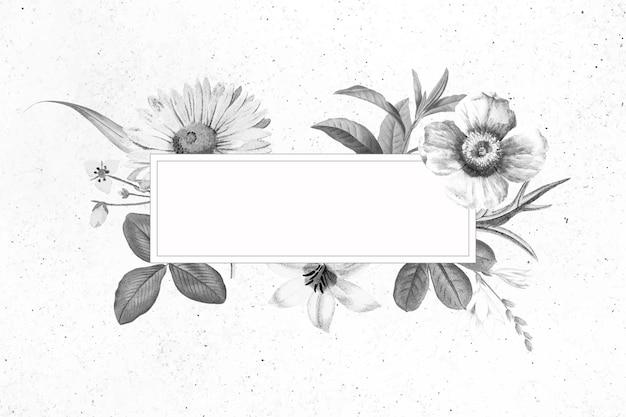 Vector de diseño de banner floral en blanco