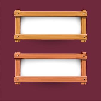 Vector de diseño de banner de madera