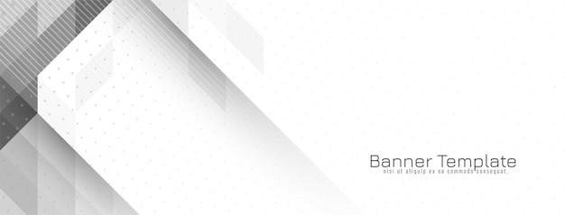 Vector de diseño de banner de moda gris y blanco geométrico brillante