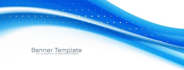 Vector de diseño de banner de onda azul que fluye con estilo