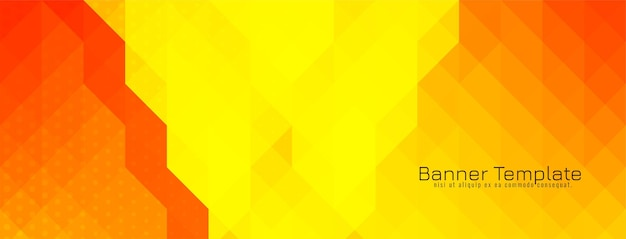 Vector de diseño de banner de patrón de mosaico triangular amarillo y rojo