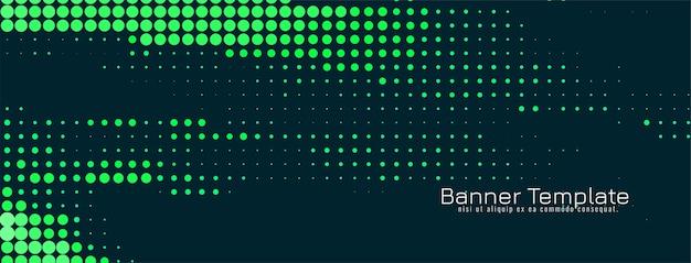 Vector de diseño de banner de semitono verde abstracto
