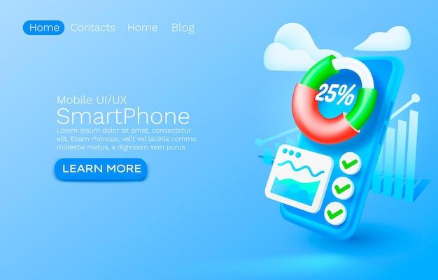 Vector de diseño de banner de sitio web gráfico de aplicación de análisis móvil diagrama de finanzas