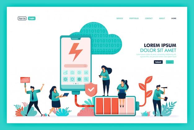 Vector de diseño de batería de energía verde y móvil. eco tecnología para el futuro