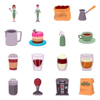 Vector diseño café y casa. establecer acciones de cafetería y restaurante.