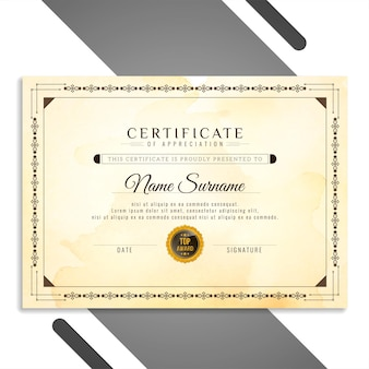 Vector de diseño de certificado hermoso abstracto