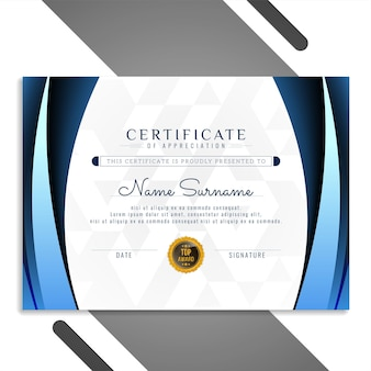 Vector de diseño de certificado hermoso estilo ola azul