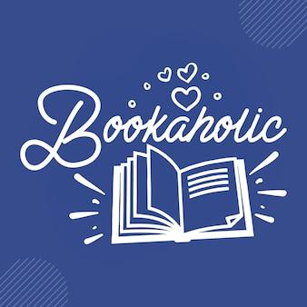 Vector de diseño de citas de lectura adicto a los libros vector premium