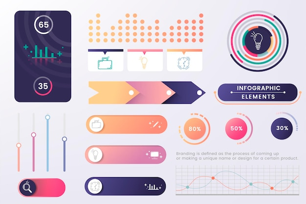 Vector de diseño de elemento de infografía colorido