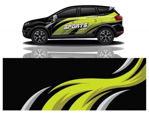 Vector de diseño de envoltura de calcomanía de coche deportivo