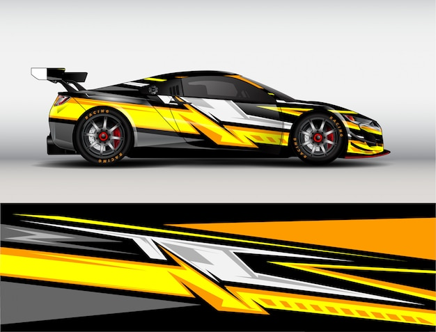 Vector de diseño de envoltura de coche de carreras