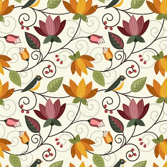 Vector diseño flores y aves de patrones sin fisuras tela textil papel pintado.