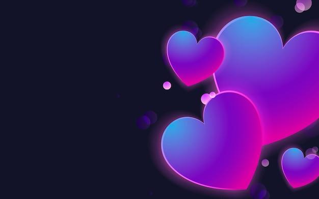 Vector de diseño de fondo de corazones pastel