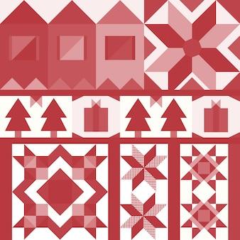 Vector de diseño geométrico de azulejos de navidad rojo