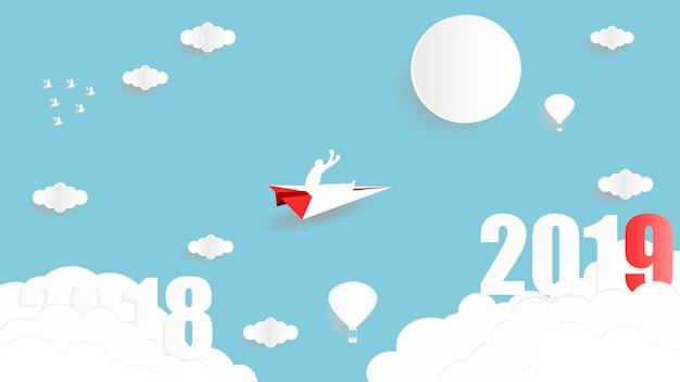 Vector el diseño gráfico del ejemplo de hombre de negocios que se sienta en el avión de papel que vuela a usted