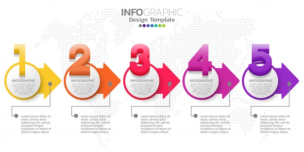 Vector de diseño de infografía cinco pasos timeline