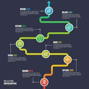 Vector de diseño de infografía timeline para visualización de datos de negocios