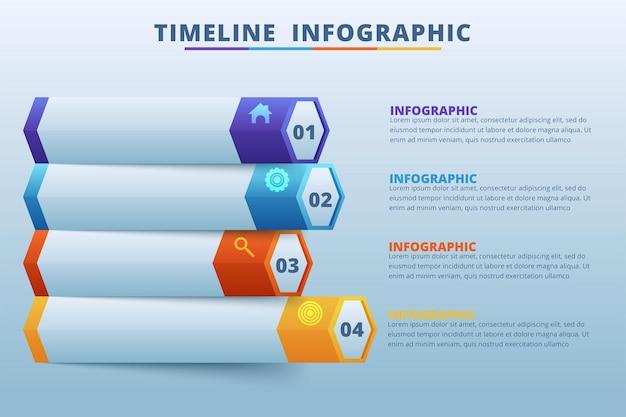 Vector de diseño de infografías de línea de tiempo e iconos de marketing
