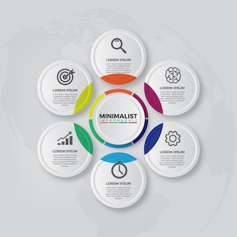 Vector de diseño infográfico y los iconos de marketing