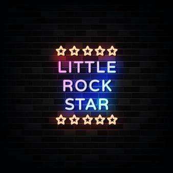 Vector de diseño de letreros de neón de little rock star