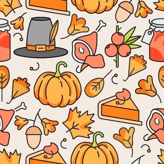 Vector de diseño lineal día de acción de gracias. otoño de patrones sin fisuras.