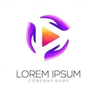 Vector de diseño de logo de manos de video