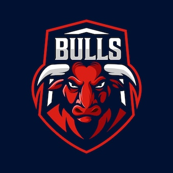 Vector de diseño de logo de mascota toro