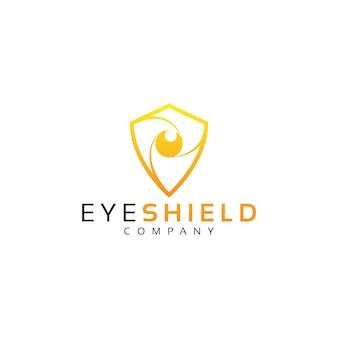 Vector de diseño de logo de ojo y escudo