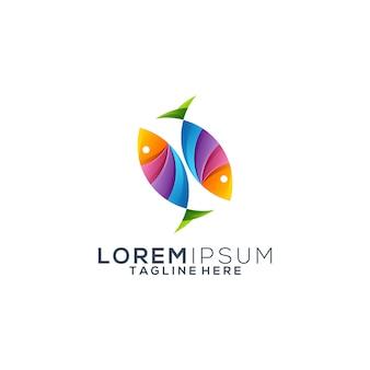 Vector de diseño de logo de peces coloridos