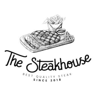 El vector de diseño de logo de steakhouse