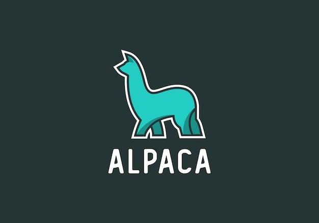 Vector de diseño de logotipo de alpaca moderna