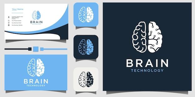 Vector de diseño de logotipo de arte de línea de tecnología cerebral con tarjeta de visita de fondo de plantilla