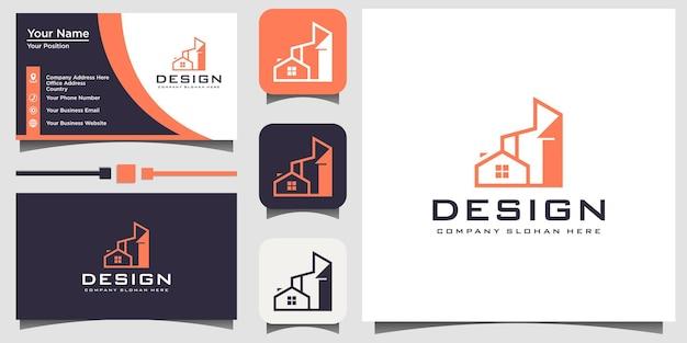 Vector de diseño de logotipo de bienes raíces con tarjeta de visita de plantilla de fondo
