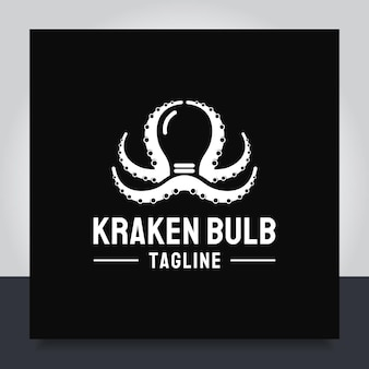 Vector de diseño de logotipo de bombilla de pulpo representa la creatividad ideas brillantes