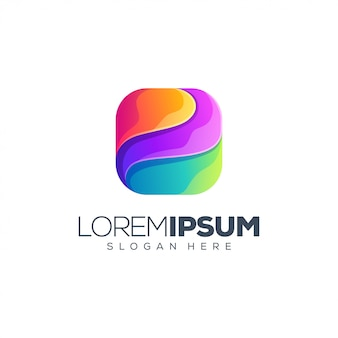 Vector de diseño de logotipo de caja colorida