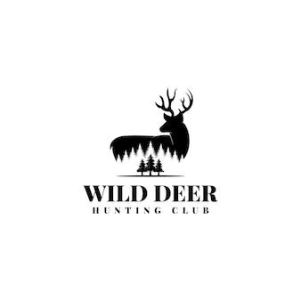 Vector de diseño de logotipo de ciervo abeto pino bosque