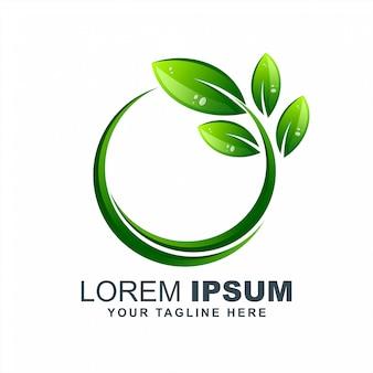 Vector de diseño de logotipo ecológico de hoja verde crecer eco puro