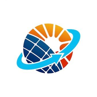 Vector de diseño de logotipo de electricidad eléctrica de energía de panel solar