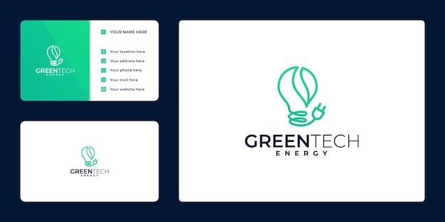 Vector de diseño de logotipo de energía verde. icono de bombilla ecológica