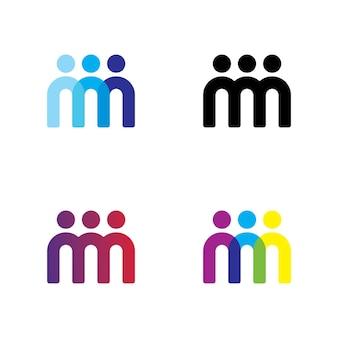 Vector de diseño de logotipo de equipo de personas