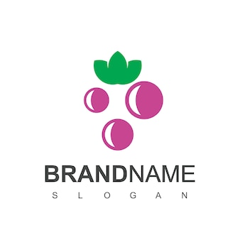 Vector de diseño de logotipo de fruta de uva