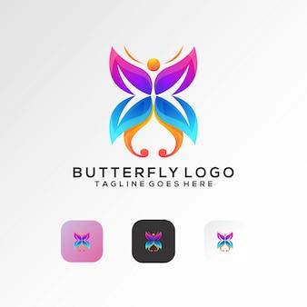 Vector de diseño de logotipo de mariposa