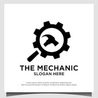 Vector de diseño de logotipo de martillo de herramientas de engranaje