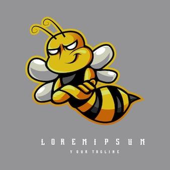 Vector de diseño de logotipo de mascota de abeja