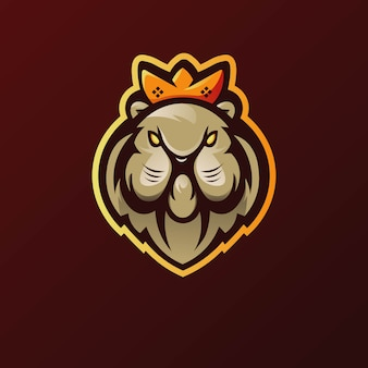 Vector de diseño de logotipo de mascota de león con estilo de concepto de ilustración moderna para impresión de insignia, emblema y camiseta